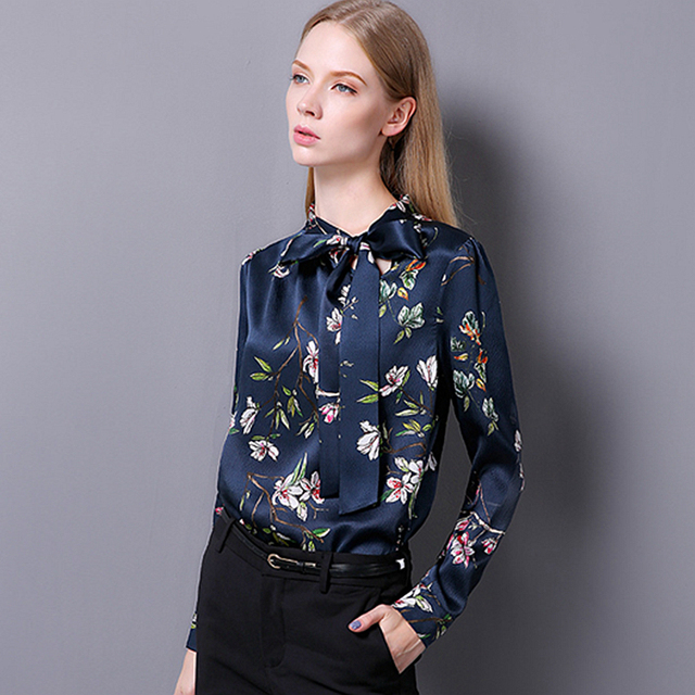 5a79b6e6acb3fe 100% Silk Blouse Women Pullovers Shirt Printed Vintage Design Long Sleeves  Office Work Top Elegant Style New Fashion 2017