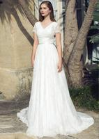 2019 A line Lace Bohemian Modest Wedding Dresses With Cap Sleeves V neck Informal Country Boho Wedding Gowns Reception Dress