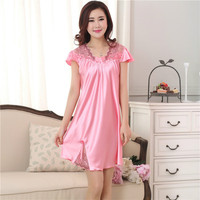 New Sweet Young Women Silk Nightgown Solid Color Fashion Knee Length Girl Sleepwear Summer Ladies Sleepshirts