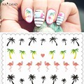 1 Havaí Palm TreeTransfers Flamingo da Folha Da Arte Do Prego Decalques de Água Adesivos Decalques de Água Árvore De Coco