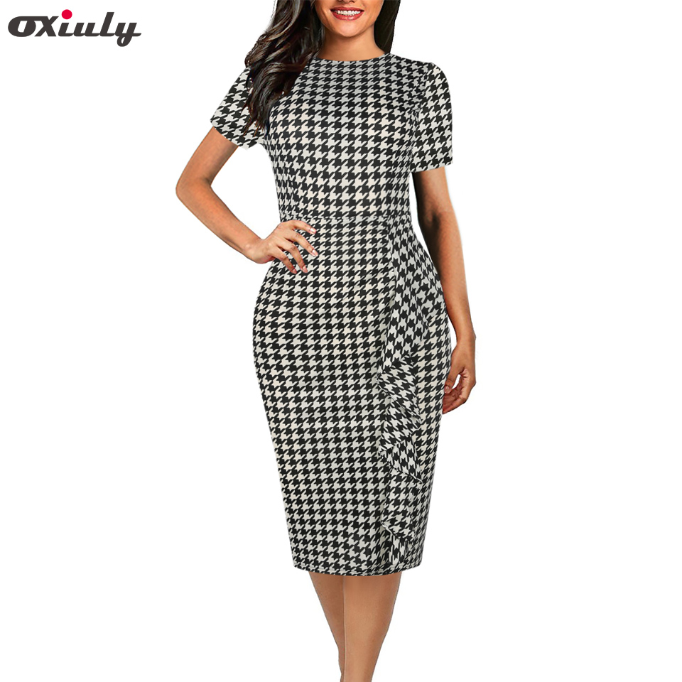 Oxiuly Women Vintage Short Sleeve Houndstooth Dress Bandage Bodycon Sheath Party Vestidos Mujer