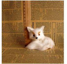mini simulation fox toy Polyethylene&fur white sitting fox baby doll gift about 9x7x8cm