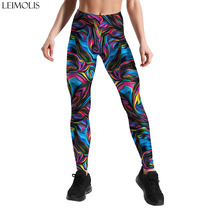 Leimolis 3D printed colorful cool geometry gothic sexy high waist push up fitness workout leggings women plus size casual pants