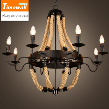 American loft chandelier rope retro industrial wind simple Bar Cafe dining room Tieyi Chandelier