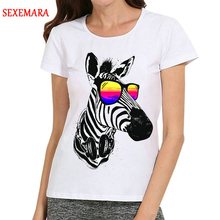 Women White Animal Zebra T-Shirt Short Sleeve Cute T Shirt Top Tees tshirt Fashion T-shirt For Dropship