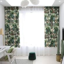 유럽 스타일의 나무 녹색 식물 인쇄 침실 거실 부엌 홈 장식 창 치료 드레이프 블라인드