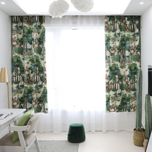European Style Tree Green Plant Print Blackout Curtain for Bedroom Livingroom Kitchen Home Decor Window Treatment Drape Blind