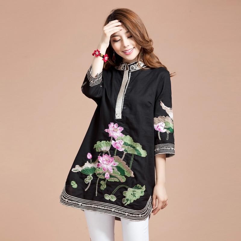 Nouveau chemisier femme printemps automne Tang costume traditionnel chinois haut col Mandarin coton lin Cheongsam Blouse Style chinois haut - 6