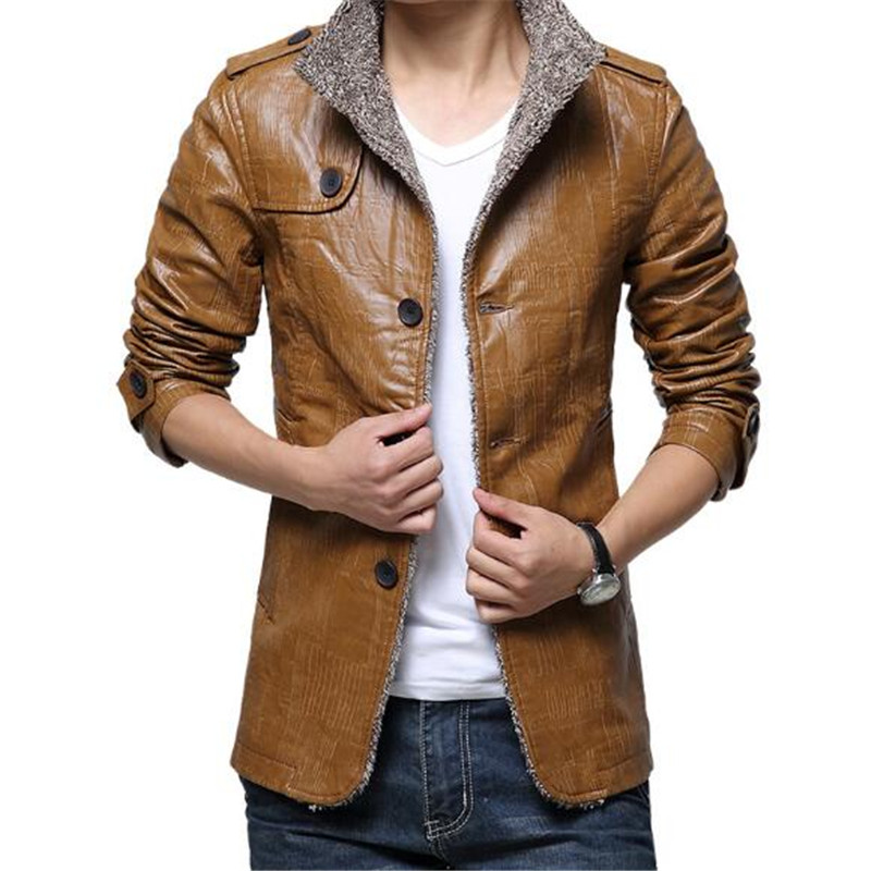 Fashion Men Winter Casual Pu Leather Jacket Thickening Coats Male 2018 Autumn Long Jackets Plus Size M-8Xl A5514