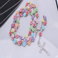 Catholic colorful rosary cross pearl beads holy rose flower necklace with silver Lourdes center