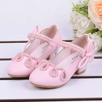 2015 Child Princess Heeled Shoes Girls Single Party Sandals Kids Baby Pearl Cutout Sandals Spring Autumn