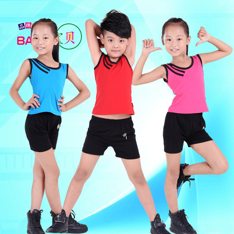 children boy girl Aerobics Clothing sportswear suit Broadcast gymnastics kickboxing dance costume clothes for kid