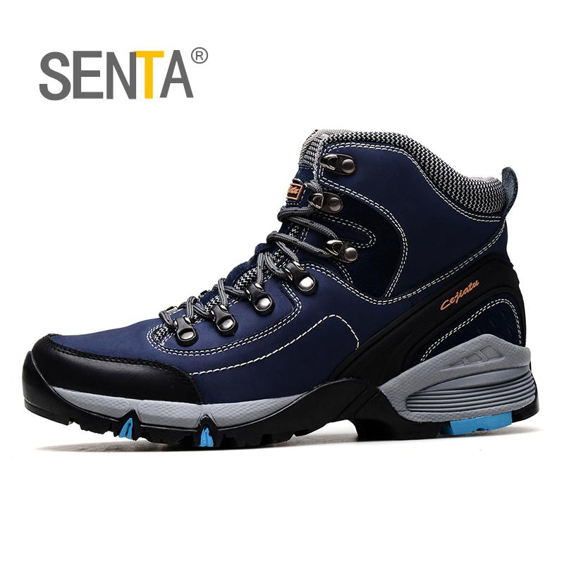 SENTA New Winter Plus velvet Men Hiking Shoes Non-slip Breathable Trekking Walking Sneakers Outdoor Mountain Climbing Boots 2017 new autumn winter trekking boots men size 38 45 climbing shoes fur warm hiking sneakers blue black men mountain boots