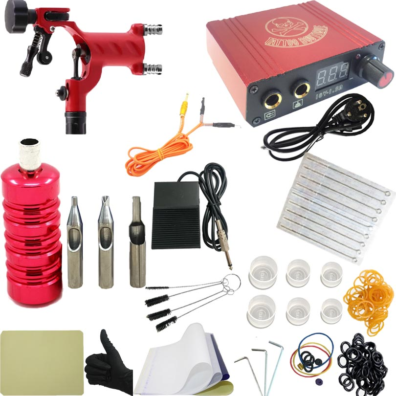 Pro Complete Tattoo Machine Kit Set Rotary Tattoo Machine Gun Power Supply Needles Grips Tips Footswitch For Body Art 2017 pro complete tattoo machine kit set 2pcs coil tattoo machine gun power supply needles grips tips footswitch for body art