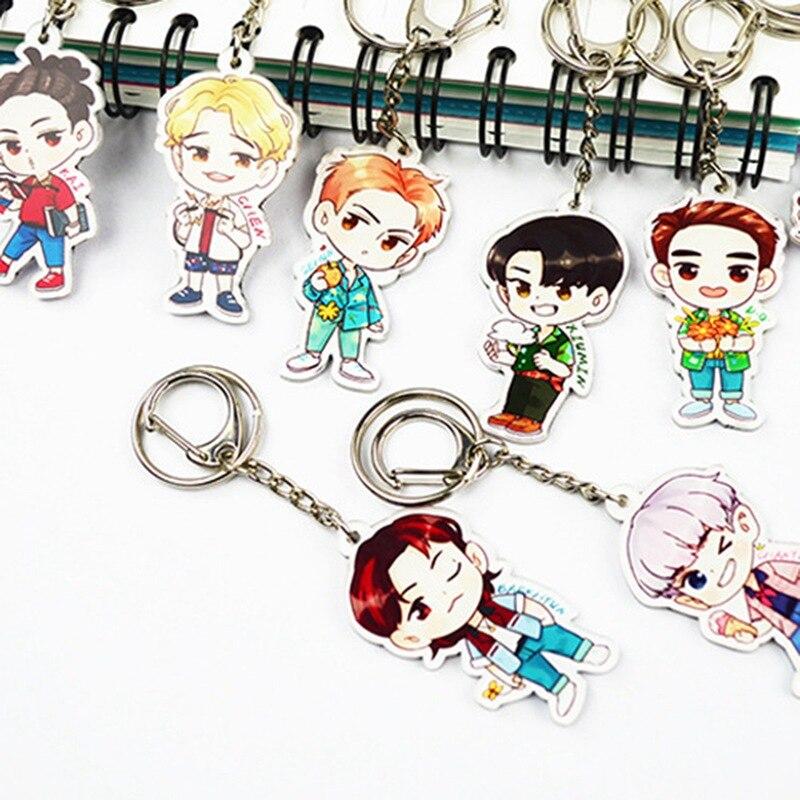 1PC Cute 8 Styles Cartoon EXO Acrylic Keychain Fashion Jewelry Accessories Cute Boys Shaped Pendants Keyring