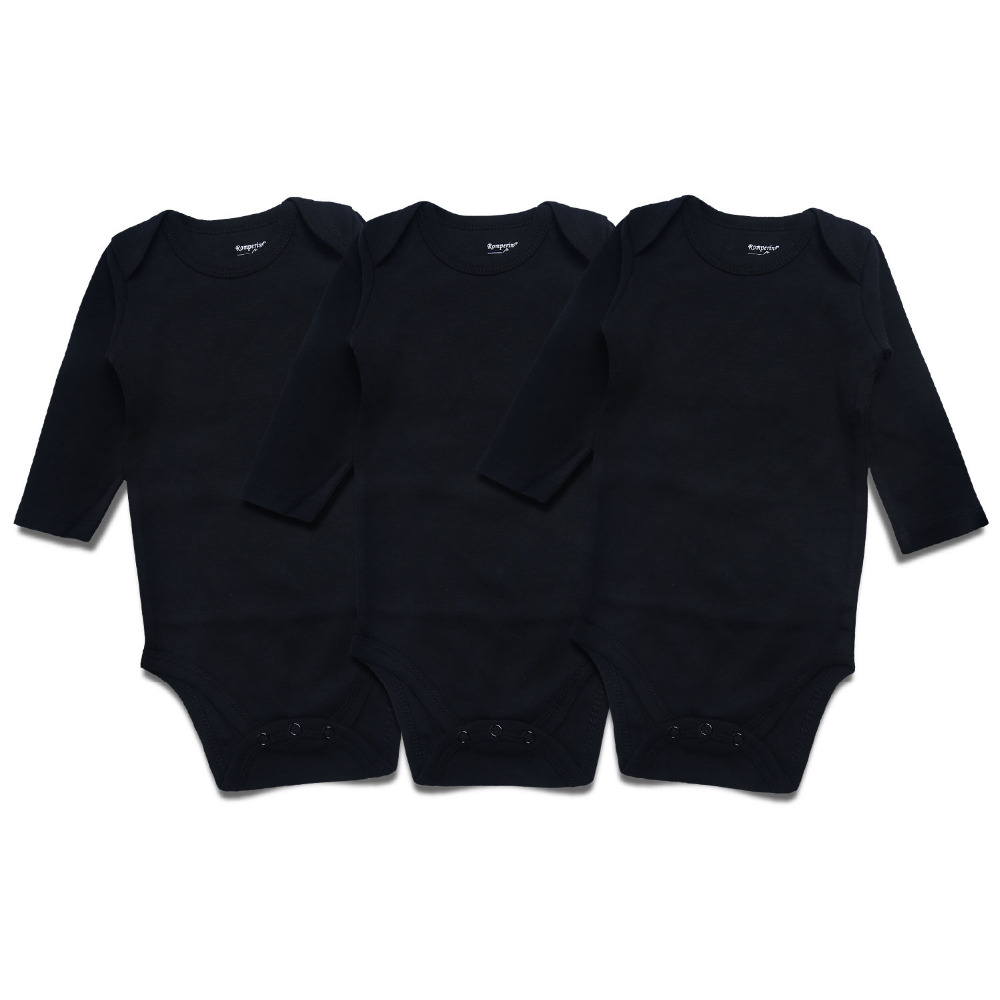 Newborn Baby Bodysuit Black 3 Pack 100 Cotton Long Sleeve Place Unisex Baby Bodysuits 100 Cotton