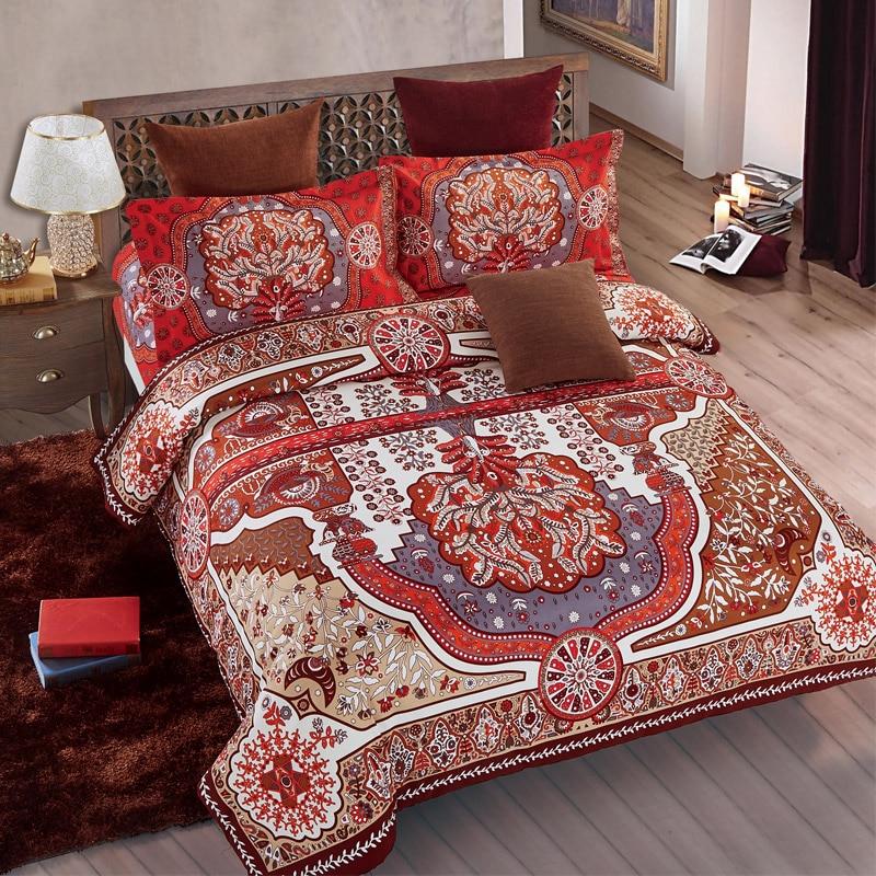 Bedding Set King Size Red Flower Duvet Cover Bed Set Breathable Comfortable Bohemian Bedclothes 4Pcs/Set Home Bedding Supplies