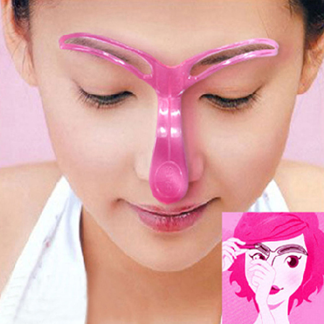Fashion Random Color Make Up Template Women's Reusable Eyebrow Stencils Shaping Grooming Eye Brow M03237 3