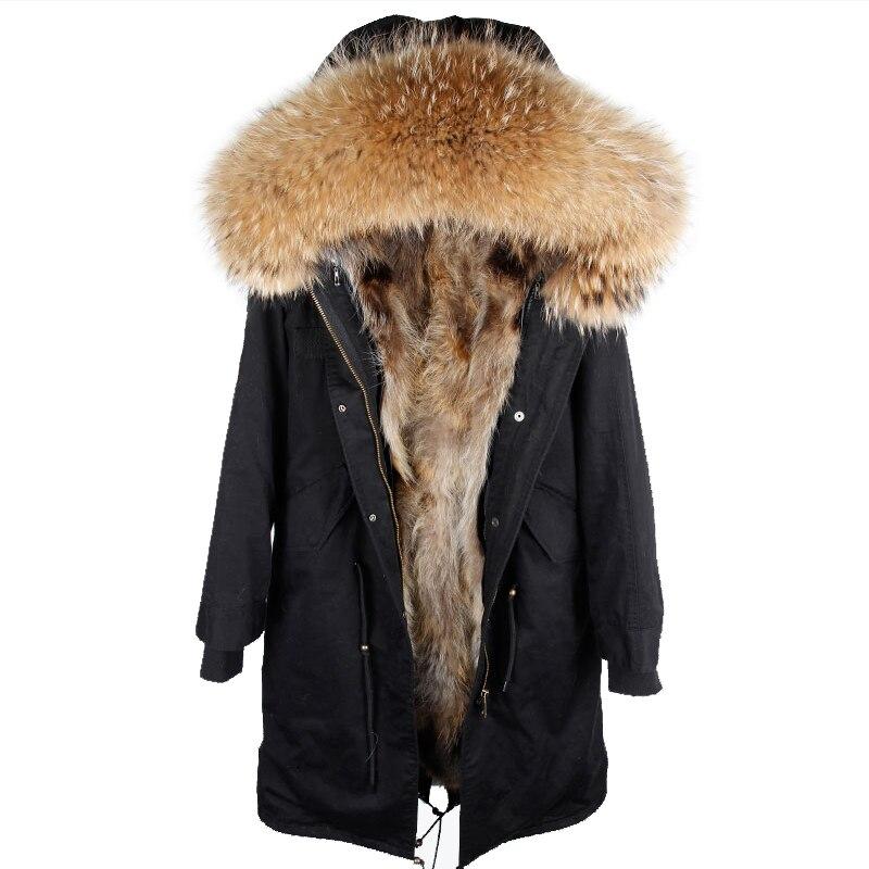 2018 новая зимняя куртка женская x-long выше колена парка натуральный мех пальто большой енот меховой воротник с капюшоном верхняя одежда толст...