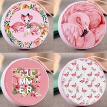 Fashion Circular Flamingo Mini Zipper Wallets Small Money Purses de moda con cremallera flamencos monederos pequeños