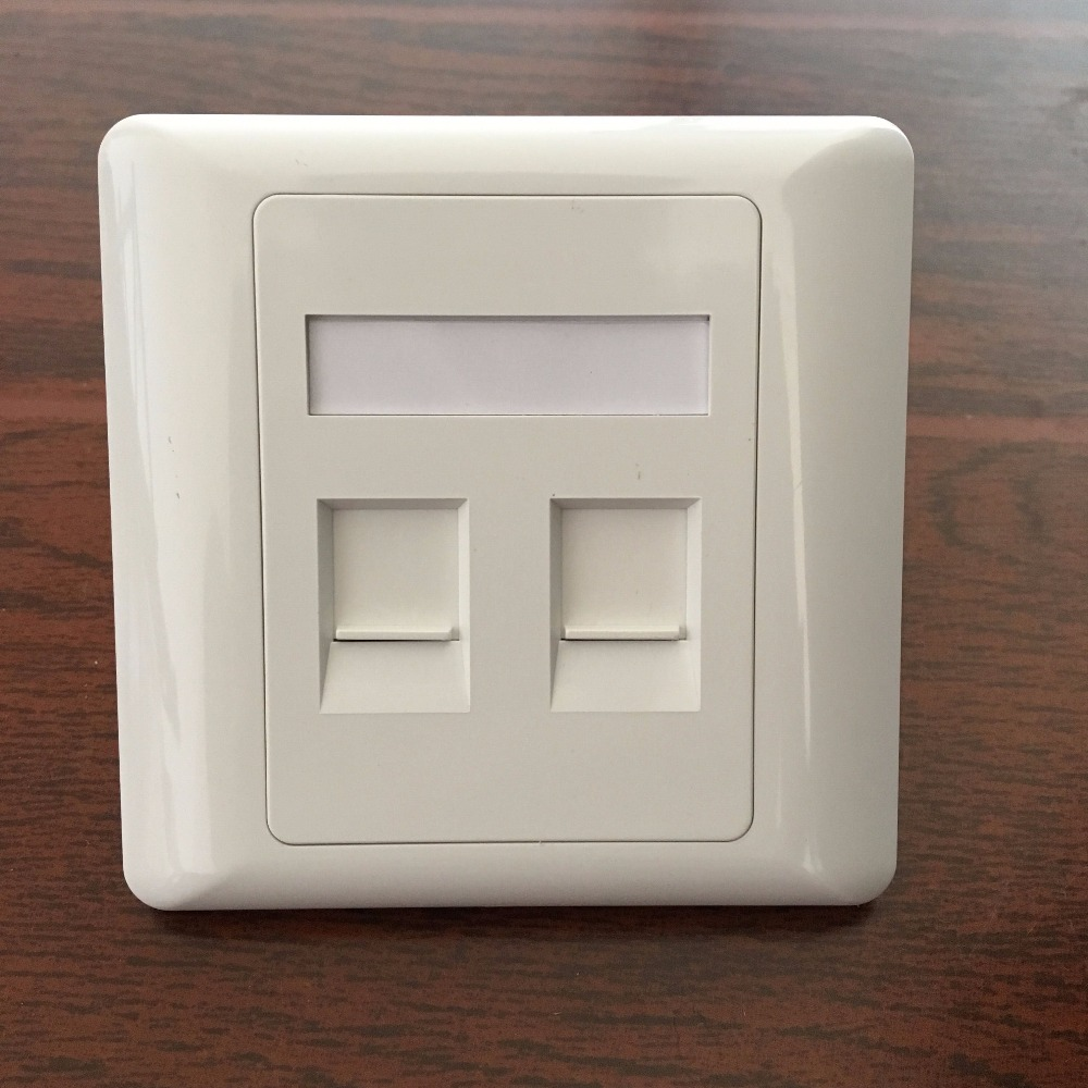 White Plastic Double Port with Module RJ11 RJ45 Network Telephone Wall Panel Face Plate 86x86mm single double port rj45 thick wall plate faceplate wall mount installation with rj45 & rj11 keystone socket outlet