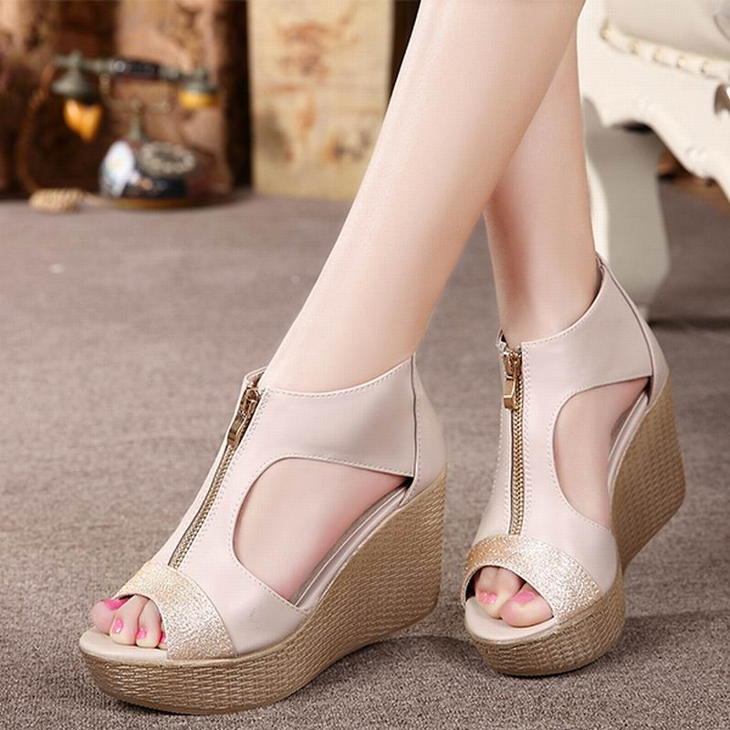 Summer Shoes Woman Sandals Casual Genuine Leather Fashion Open Toe High Heels Ladies Sandals Platform sandalias mujer  summer women sandals open toe matte shiny leather t strap buckle high heels platform sandalias mujer fashion shoes woman