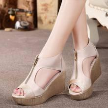 Zapatos de verano Sandalias de la Mujer de Moda Casual de Cuero Genuino Del Dedo Del Pie Abierto Tacones Altos Sandalias de Las Señoras Plataforma sandalias mujer