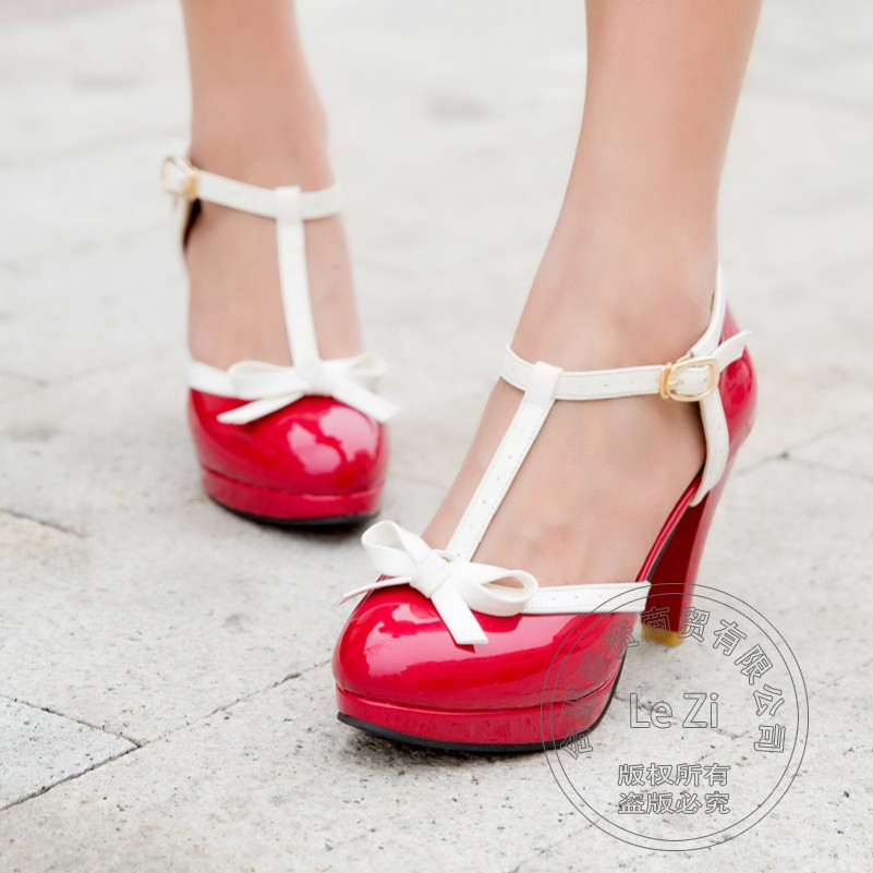 Coat Of Paint Pu Hasp T Strap Round Toe Square Heel College Style Pink Leisure font