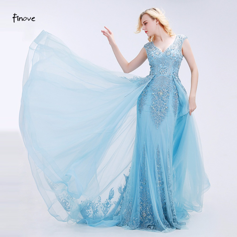 Finove Appliques Prom Dresses 2019 New Styles Elegant Tulle Beading V Neck Sleeveless Floor Length Evening