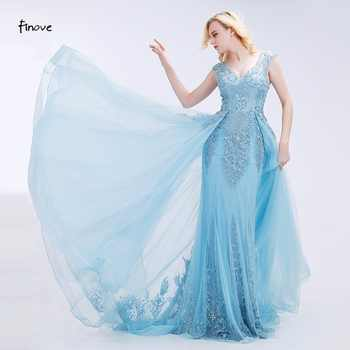 Finove Appliques Prom Dresses 2019 New Styles Elegant Tulle Beading V-Neck Sleeveless Floor-Length Evening Gowns for Party - DISCOUNT ITEM  23% OFF Weddings & Events