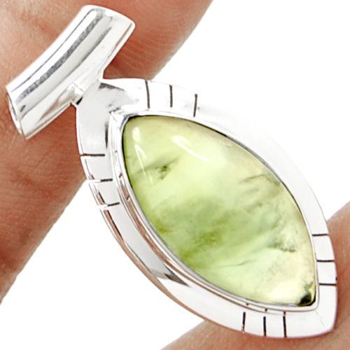 Hand make Genuine Prehnite Pendant 100% 925 Sterling Silver Jewellery KP0402 40mm 13.4g