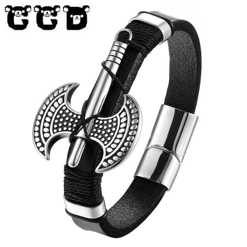 New Vintage punk Bracelet Black Leather Charm Bracelets Men Jewelry Party Gift Stainless Steel Axe Bracelets & Bangles Jewelry cool square stainless steel bracelets men new arrival punk rock mens bracelets