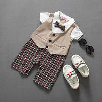 Newborn BABYGROW Baby Boy Clothes New Christening Formal Party Bodysuit Outfit Gift Short Sleeve Summer 6