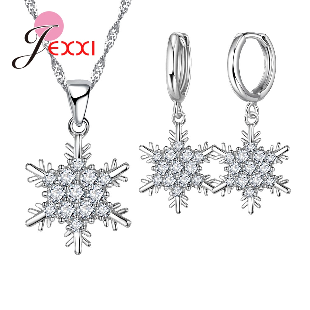 Charming High Quality Snowflake Necklace Earring Romantic 925 Silver  Jewelry Set For Women Party Wedding Bridal