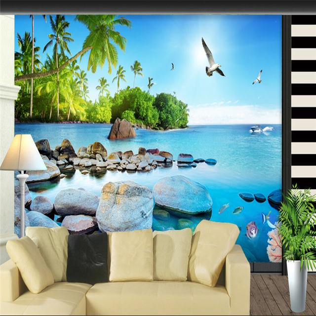 Beautiful Living Room Wallpaper Part - 33: Beibehang Custom 3d Wall Paper Beautiful 3D Sea View Island Wallpaper  Living Room Sofa Bedroom TV