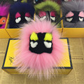 Luxury Cute Little Monster Face Keychain Fashion Fluffy Fox Fur Pom Pom Keyring Car and For Women Shoulder Bag Pendant Accesory