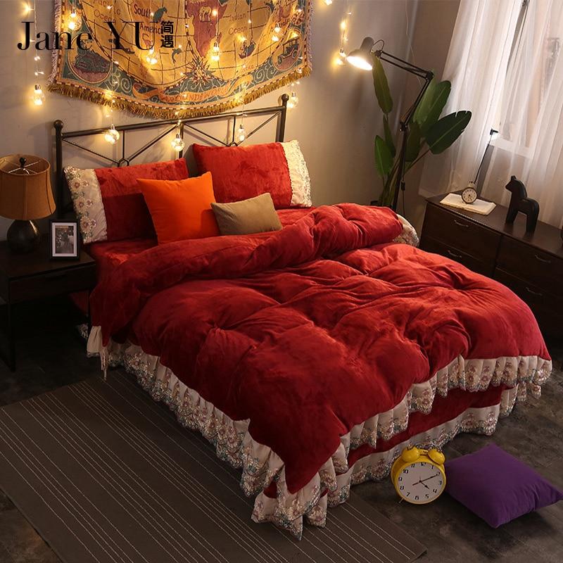 elegant romantic bedroom design luxury | JaneYU luxury 16 colors wedding bedding set lace duvet ...