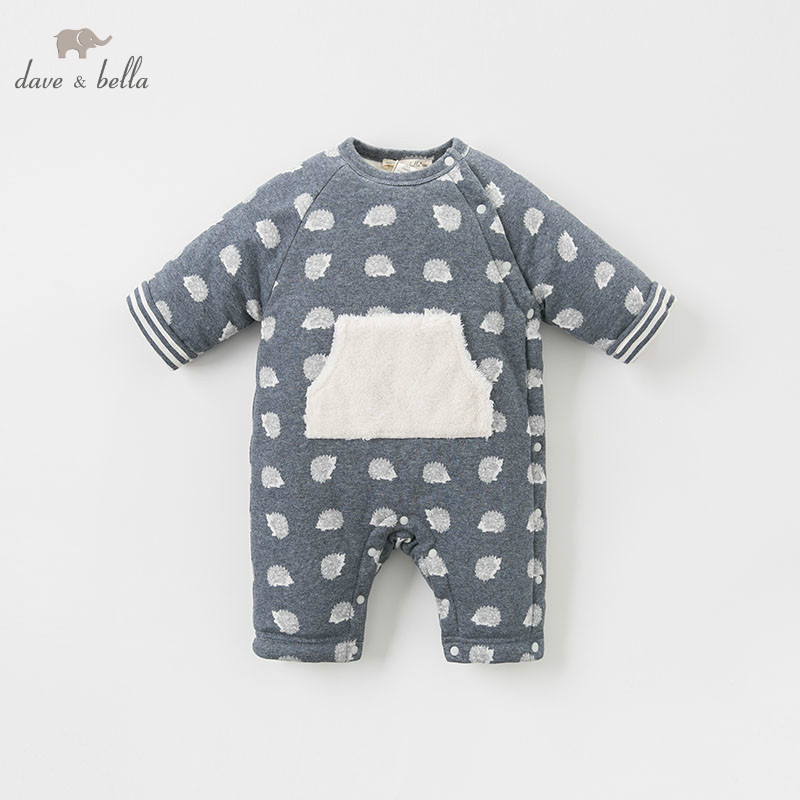 все цены на DBW8210 dave bella winter new born baby print long sleeve romper infant toddler jumpsuit children boutique romper 1 piece