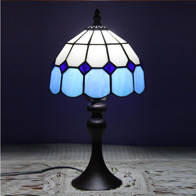 Vintage Blue/orange Tiffany E27 Dia 20cm Glass Table Lamp For Living Room  Bed Room