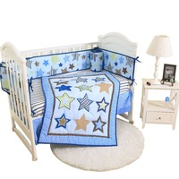 4pcs embroidered contton baby bedding sets comforter sheet skirt bumper