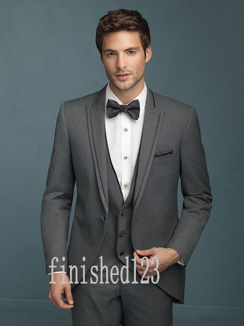 Fashionable One Button Dark Grey Groom Tuxedos Groomsmen Men\'s ...