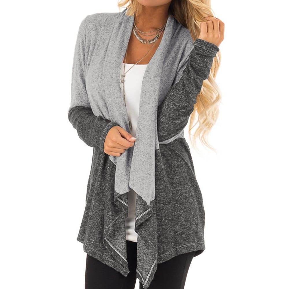 Mujer Harajuku Cardigan Couture Gray Couleur Devanture Blusas Livraison Moda Irrégulière Hauts Longues De 2018 À Manches Ouverte Blouse Directe Femmes pwBOx0Pqx