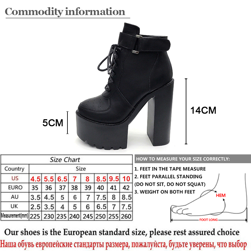 fe89ca19a21 Gdgydh Hot Sale Russian Shoes Black Platform Boots Women Zipper Autumn High  Heels Shoes Lace Up Ankle Boots White Rubber Sole-in Ankle Boots from Shoes  on ...
