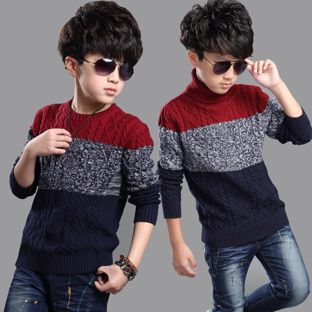 2016 Boys Clothes Patchwork Wool Children Sweaters Kids Autumn/winter Knitted Pullovers Turtleneck Warm Outerwear Boys Sweater