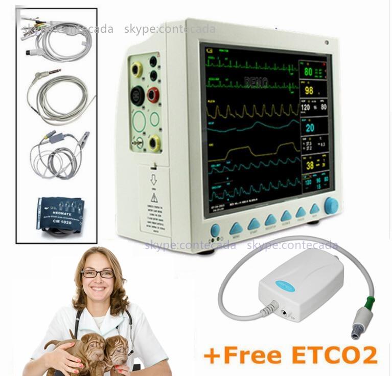 CMS8000 VET Veterinary Patient Monitor Capnograph Vital Signs 7 parameter +ETCO2 ICU ce vet veterinary icu patient monitor 6 parameters contec cms6000 etco2 printer