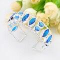 Promotion 2PCS 1Lot Luckyshine Fire Horse Oval Blue Created Topaz Gems Silver Plated Bangles Russia Australia Bracelets Bangles