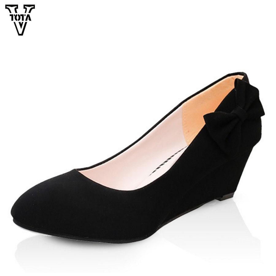 VTOTA Pumps Women Platform Wedges Pumps Bow-knot Flock Soft Spring Autumn Women Pumps Slip On Casual Black Ladies Shoes LS
