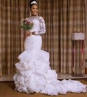 robe de mariage Wedding Dresses Mermaid Long Sleeves Women Bride Dress Lace Appliques Bridal Gowns With Organza Ruffles Skirt