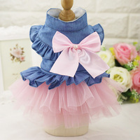 Fashion Dog Wedding Dress Jean Summer Dog Clothes Cute Bow Princess Puppy Skirt For Chihuahua