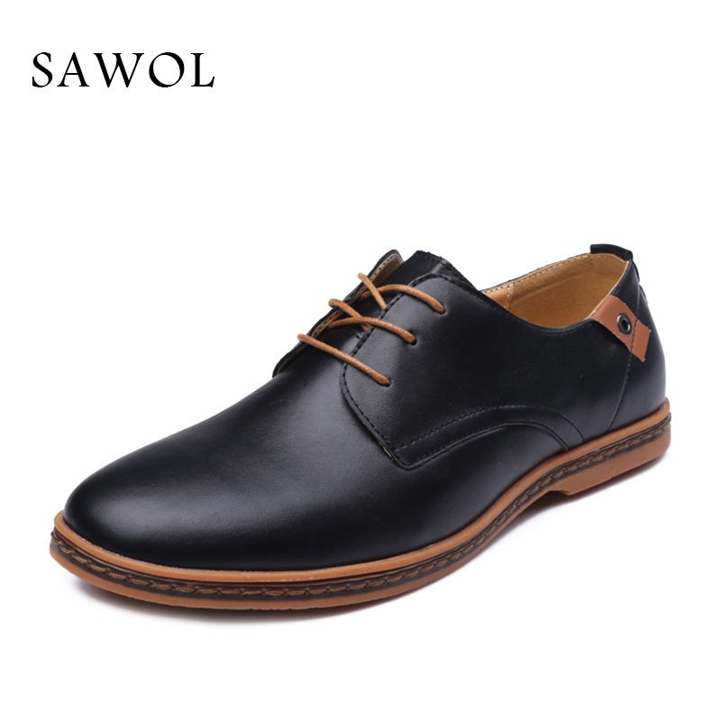 8be216d928 US $22.77 50% OFF|Sawol Men Casual Shoes Spring Autumn Brand Men Shoes Men  Sneakers Genuine Split Leather Plus Big Size Men Flats Slip On-in Men's ...